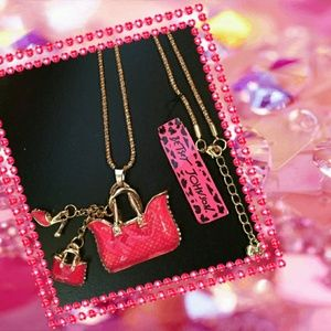 Betsey Johnson Pink Purse Necklace